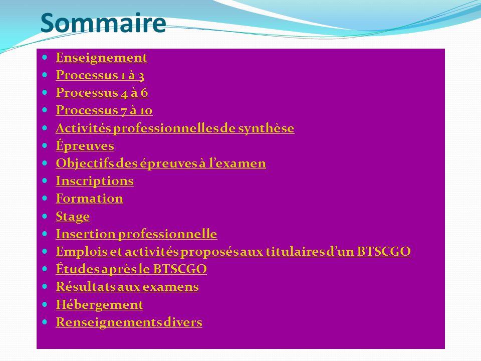 Sommaire Enseignement Processus 1 à 3 Processus 4 à 6 Processus 7 à 10