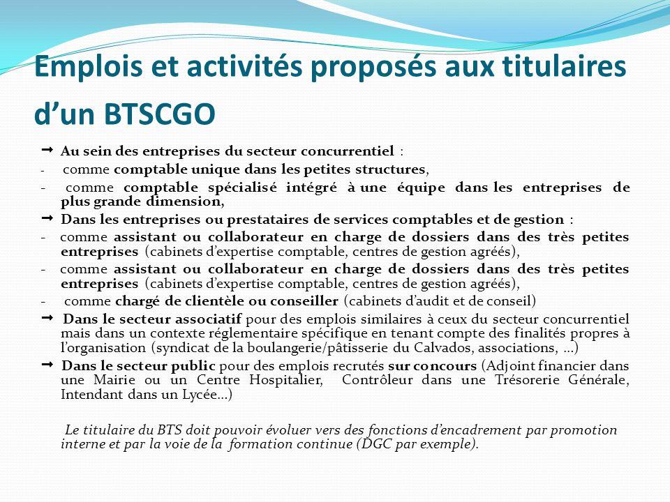 Emplois et activités proposés aux titulaires d'un BTSCGO
