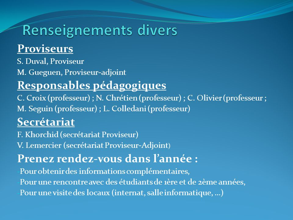 Renseignements divers