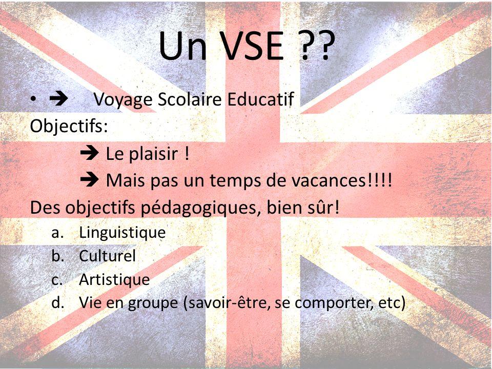 Un VSE  Voyage Scolaire Educatif Objectifs:  Le plaisir !