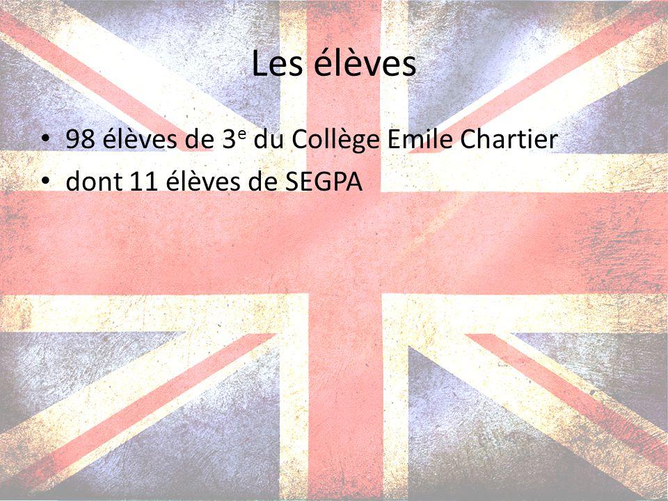 Les élèves 98 élèves de 3e du Collège Emile Chartier