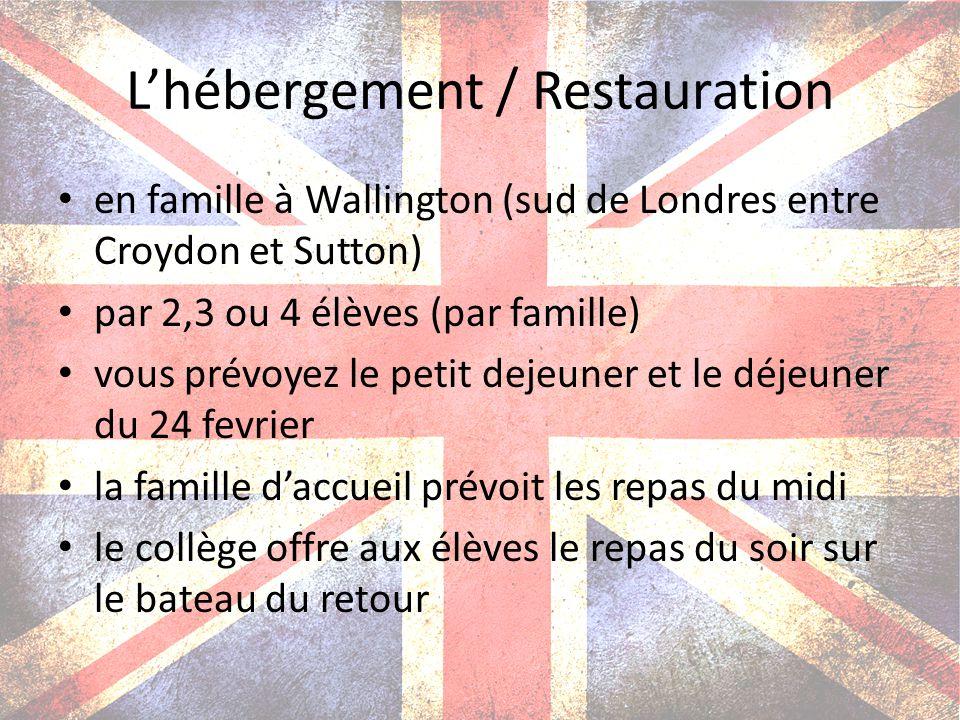 L'hébergement / Restauration