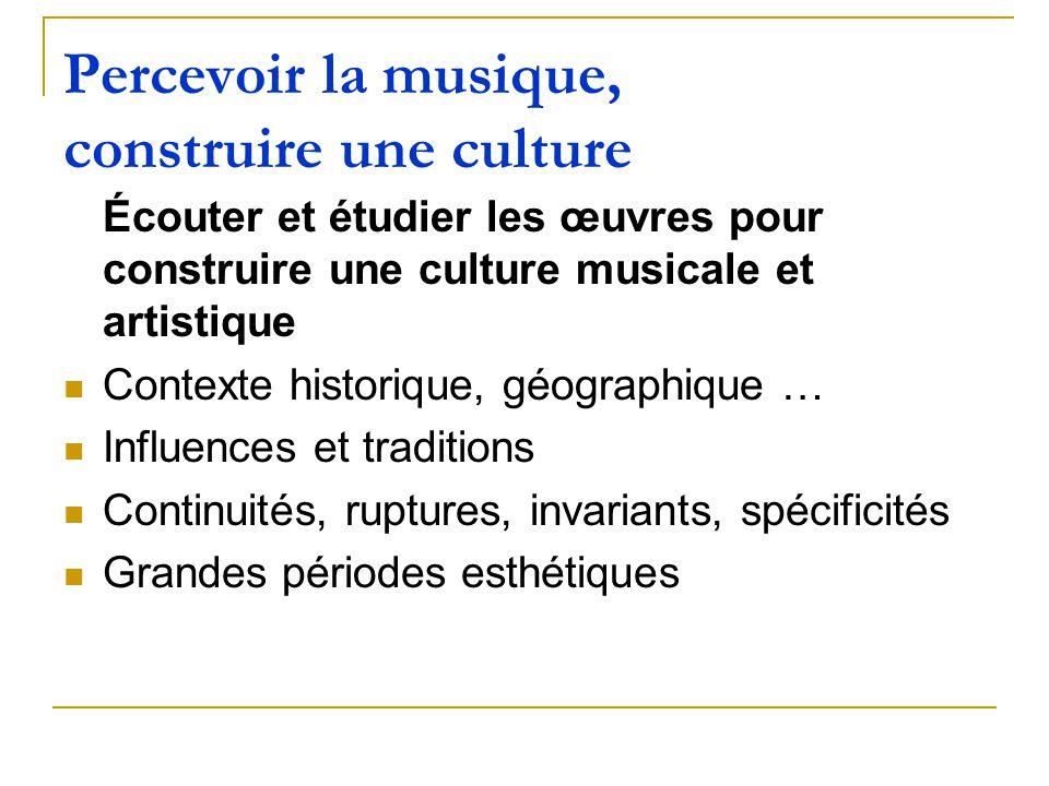 Percevoir la musique, construire une culture