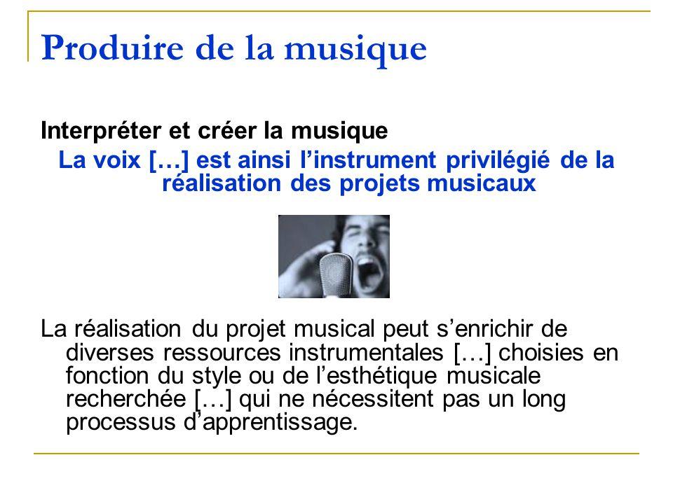 Produire de la musique Interpréter et créer la musique