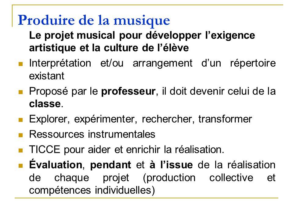 Produire de la musique Le projet musical pour développer l'exigence artistique et la culture de l'élève.