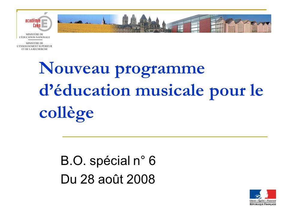 Nouveau programme d'éducation musicale pour le collège