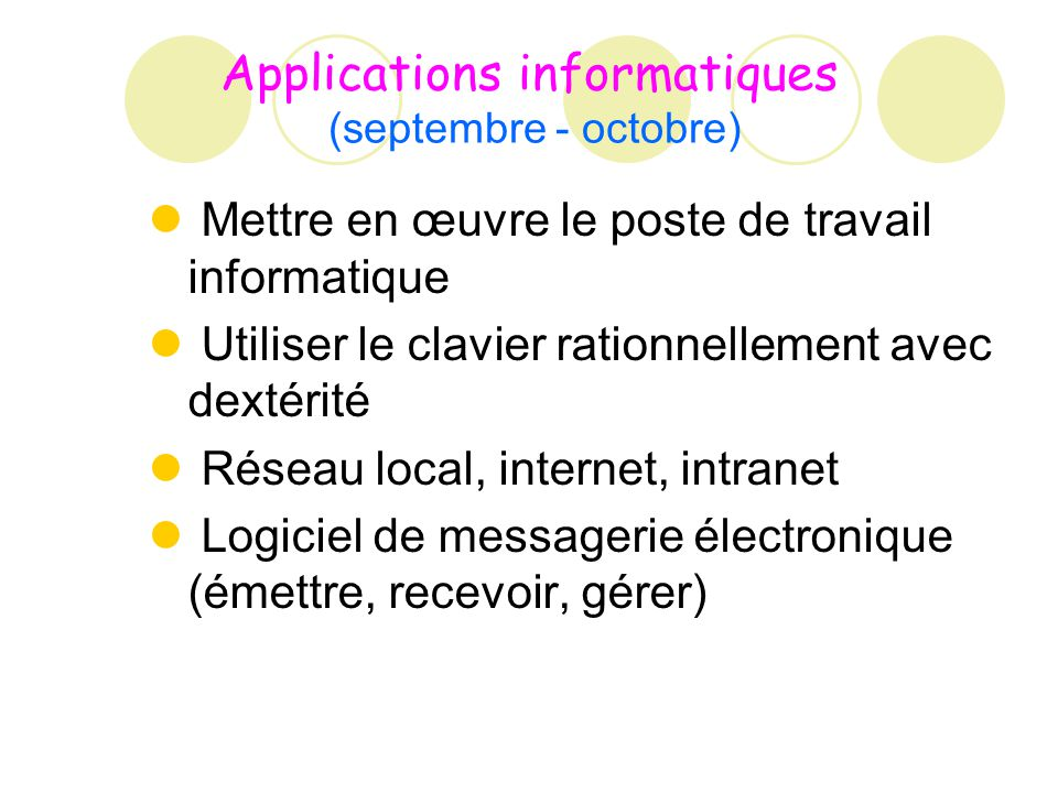 Applications informatiques (septembre - octobre)