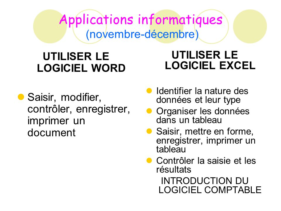 Applications informatiques (novembre-décembre)