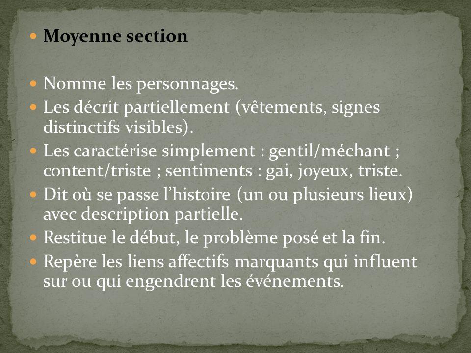 Moyenne section Nomme les personnages. Les décrit partiellement (vêtements, signes distinctifs visibles).
