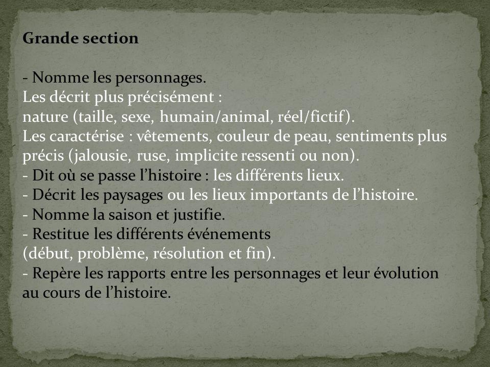 Grande section - Nomme les personnages. Les décrit plus précisément : nature (taille, sexe, humain/animal, réel/fictif).