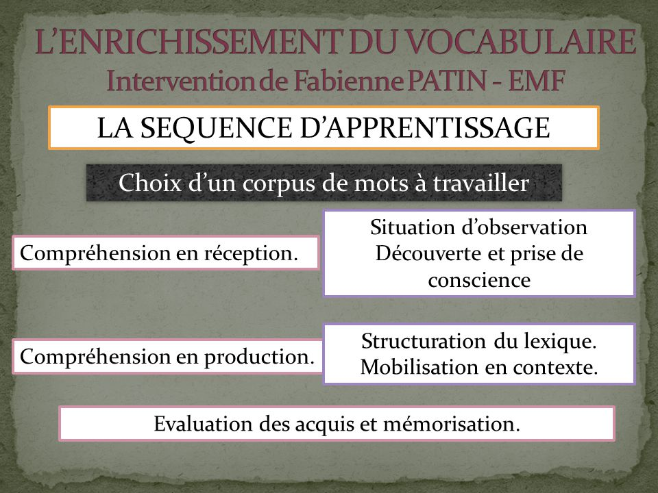 L'ENRICHISSEMENT DU VOCABULAIRE Intervention de Fabienne PATIN - EMF