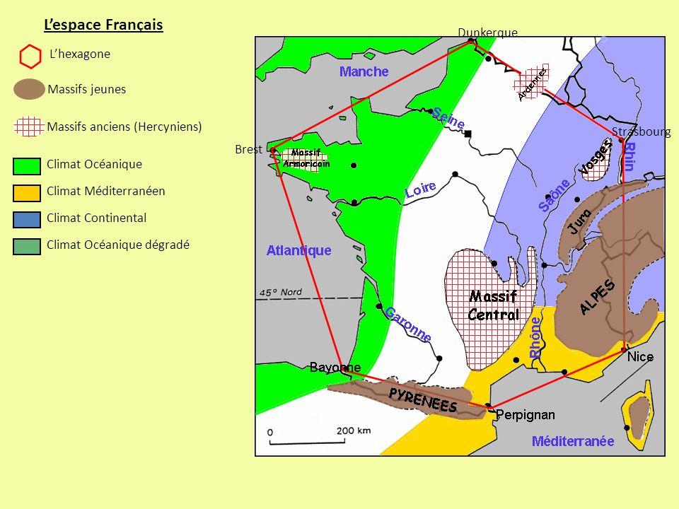 L'espace Français Dunkerque L'hexagone Massifs jeunes
