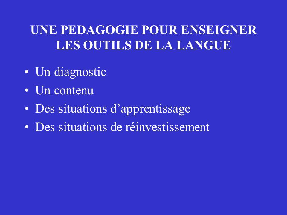 UNE PEDAGOGIE POUR ENSEIGNER LES OUTILS DE LA LANGUE