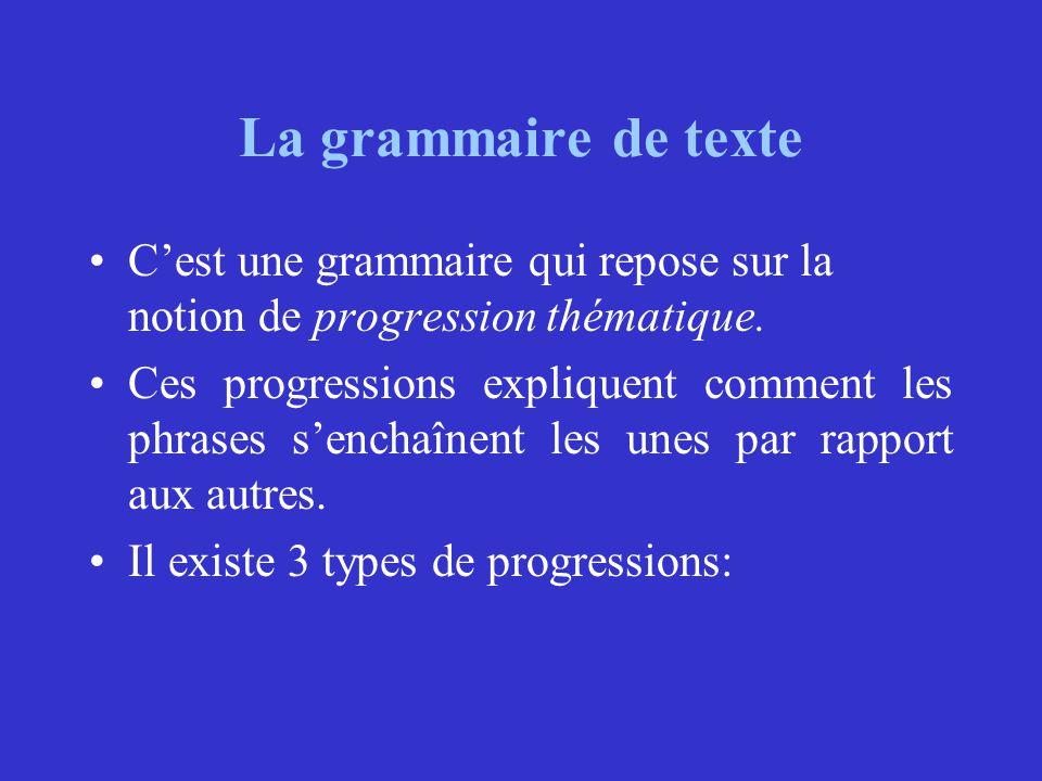 La grammaire de texte C'est une grammaire qui repose sur la notion de progression thématique.