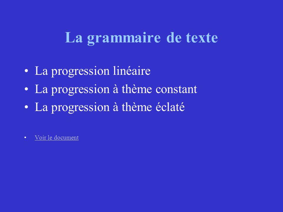 La grammaire de texte La progression linéaire
