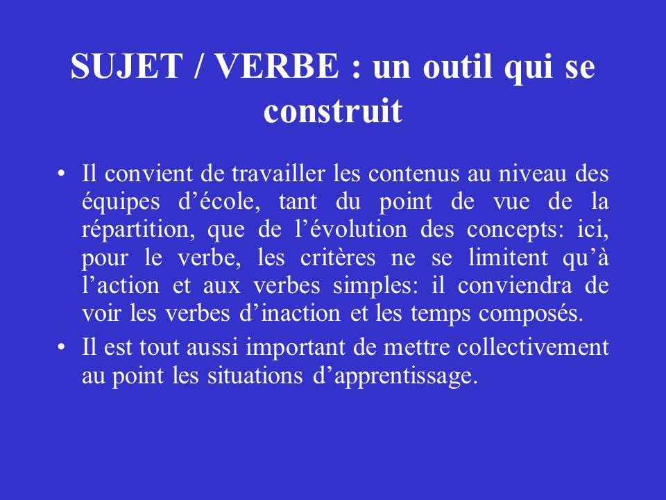 SUJET / VERBE : un outil qui se construit