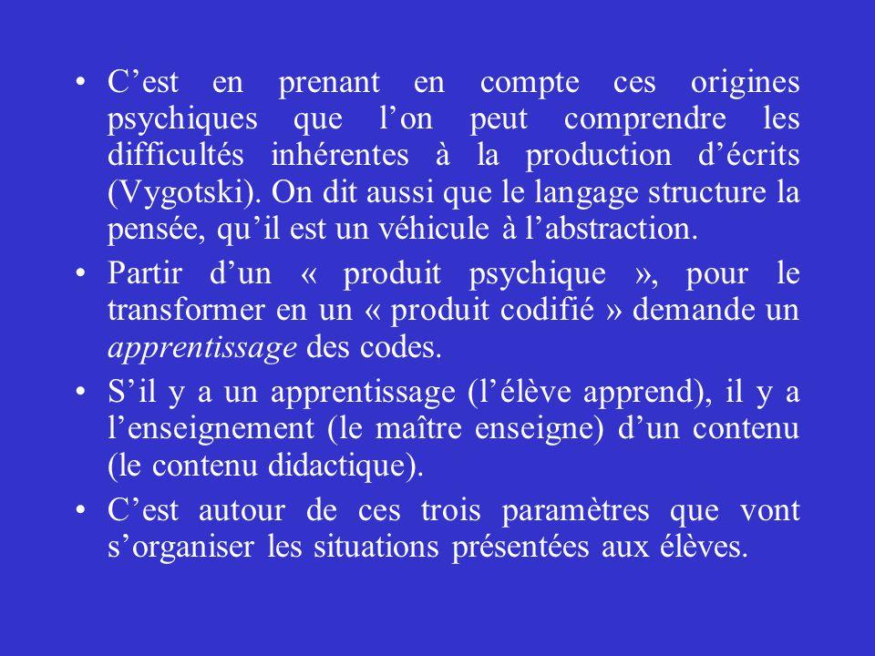 C'est en prenant en compte ces origines psychiques que l'on peut comprendre les difficultés inhérentes à la production d'écrits (Vygotski). On dit aussi que le langage structure la pensée, qu'il est un véhicule à l'abstraction.