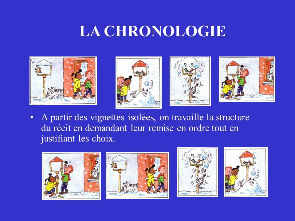 LA CHRONOLOGIE A partir des vignettes isolées, on travaille la structure du récit en demandant leur remise en ordre tout en justifiant les choix.