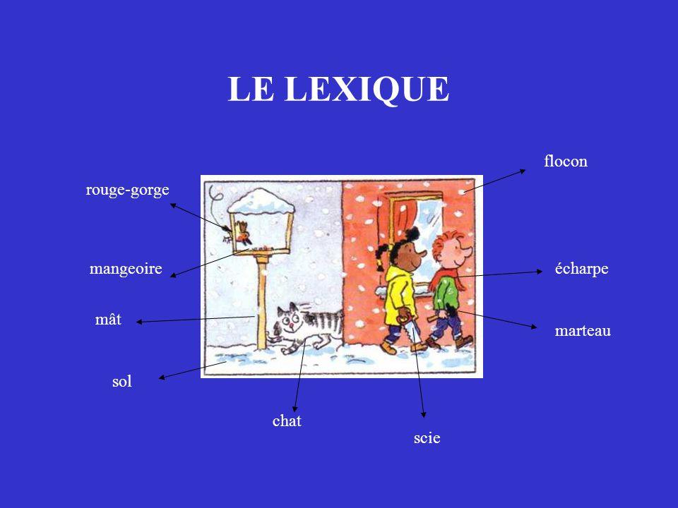 LE LEXIQUE rouge-gorge écharpe marteau chat scie flocon sol mangeoire