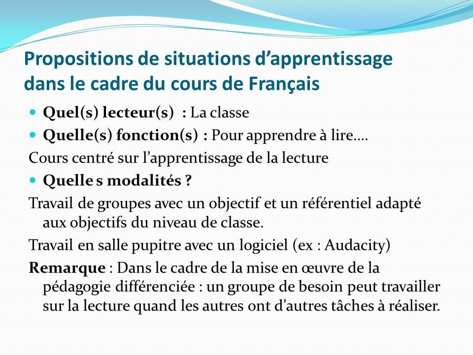 Propositions de situations d'apprentissage dans le cadre du cours de Français