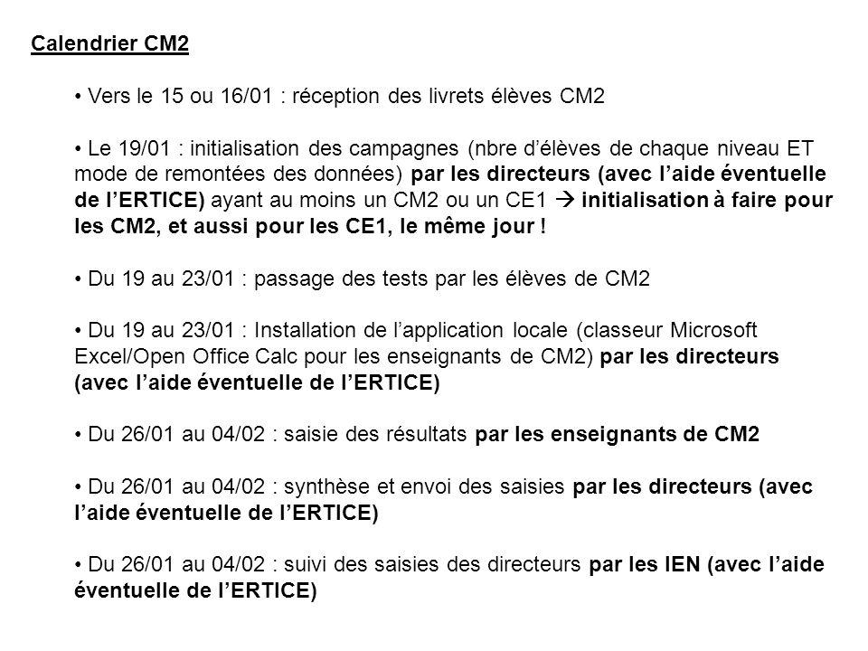 Calendrier CM2 Vers le 15 ou 16/01 : réception des livrets élèves CM2.