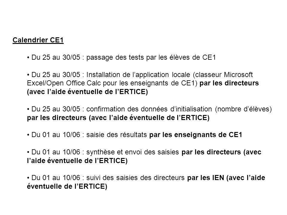 Calendrier CE1 Du 25 au 30/05 : passage des tests par les élèves de CE1.