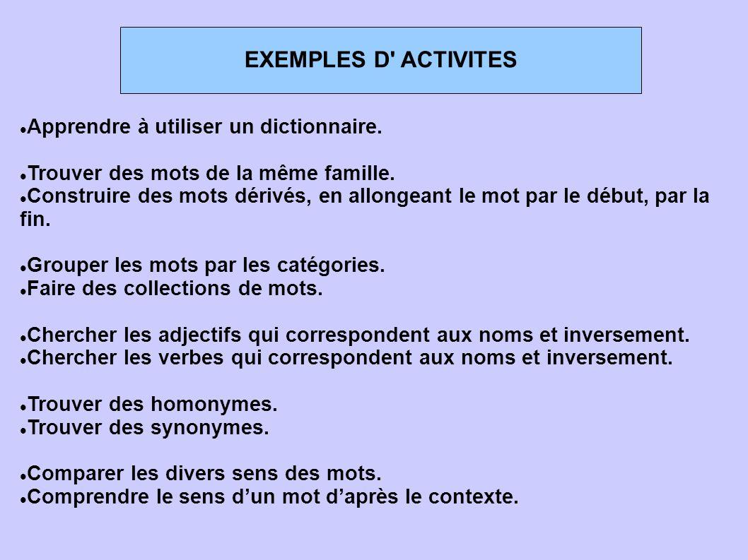 EXEMPLES D ACTIVITES Apprendre à utiliser un dictionnaire.