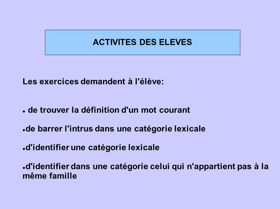 ACTIVITES DES ELEVES Les exercices demandent à l élève: de trouver la définition d un mot courant.