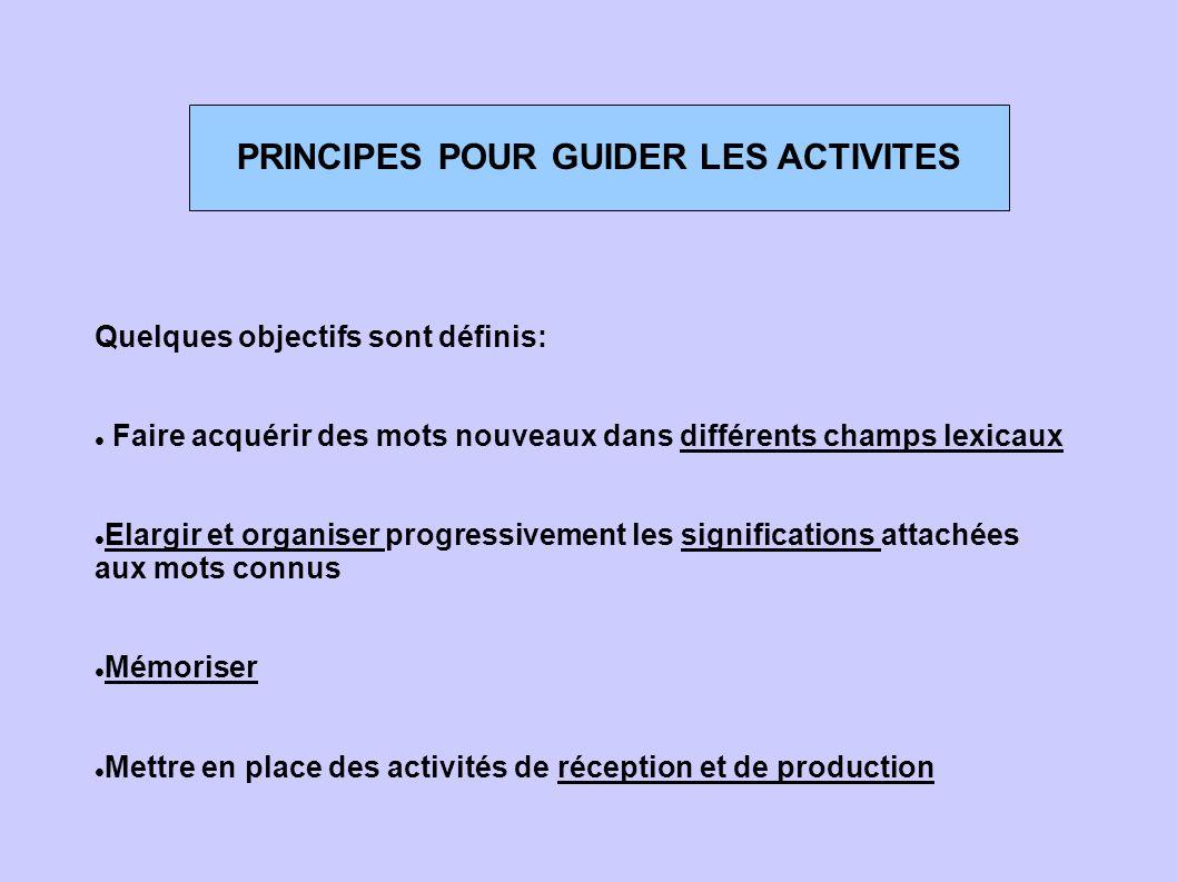 PRINCIPES POUR GUIDER LES ACTIVITES