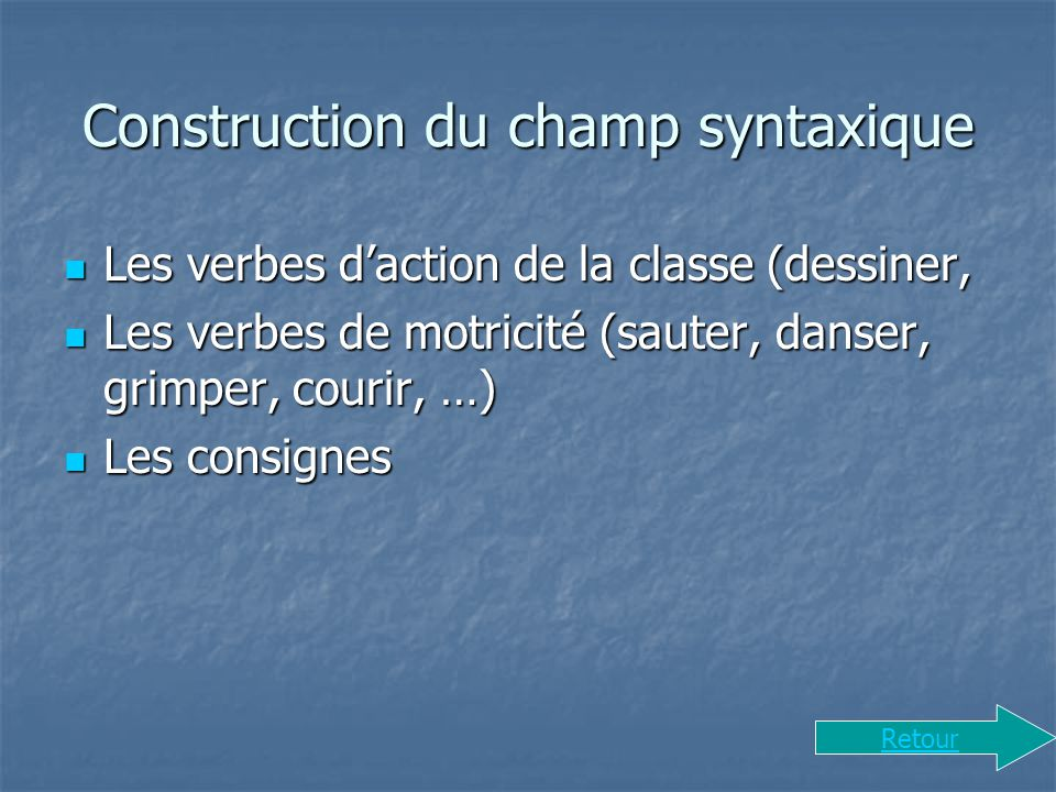 Construction du champ syntaxique
