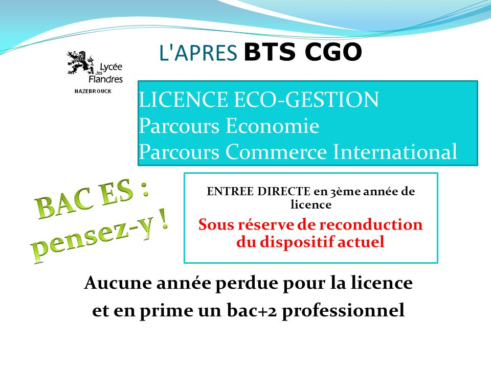 LICENCE ECO-GESTION Parcours Economie Parcours Commerce International