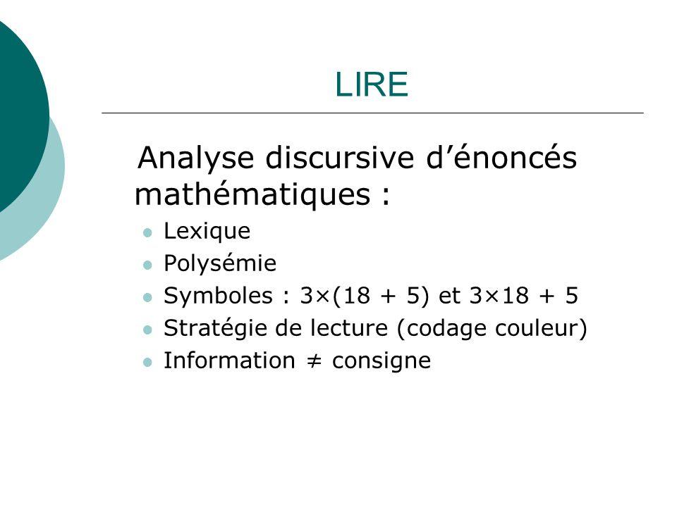 LIRE Analyse discursive d'énoncés mathématiques : Lexique Polysémie