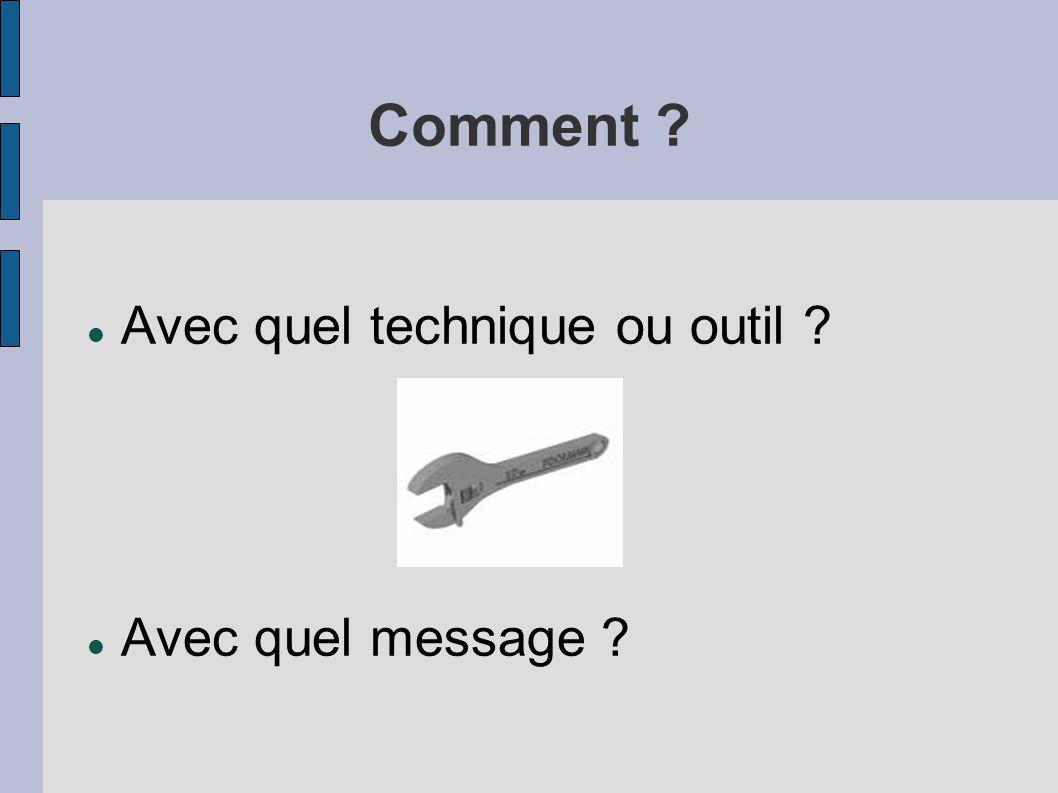Comment Avec quel technique ou outil Avec quel message