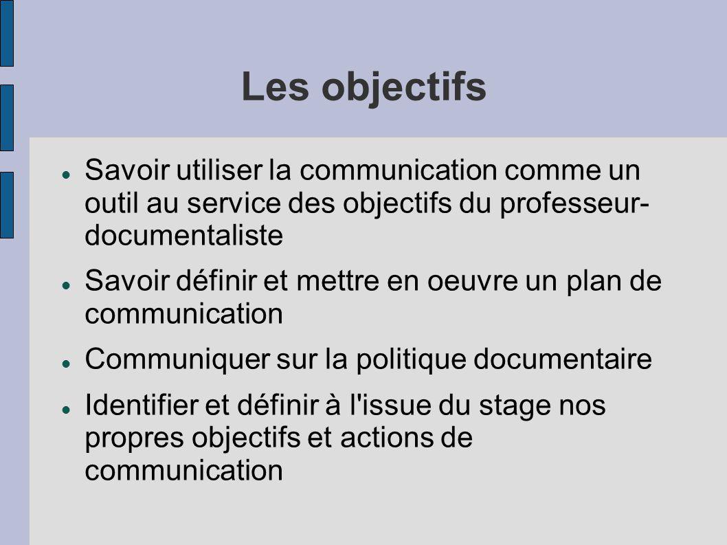 Les objectifs Savoir utiliser la communication comme un outil au service des objectifs du professeur- documentaliste.