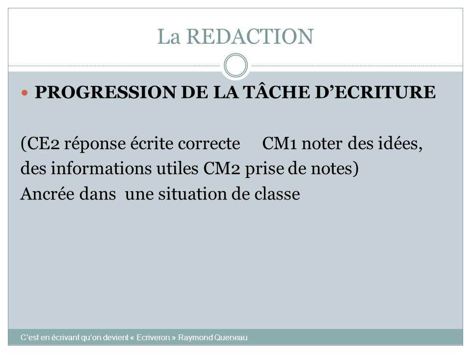 La REDACTION PROGRESSION DE LA TÂCHE D'ECRITURE
