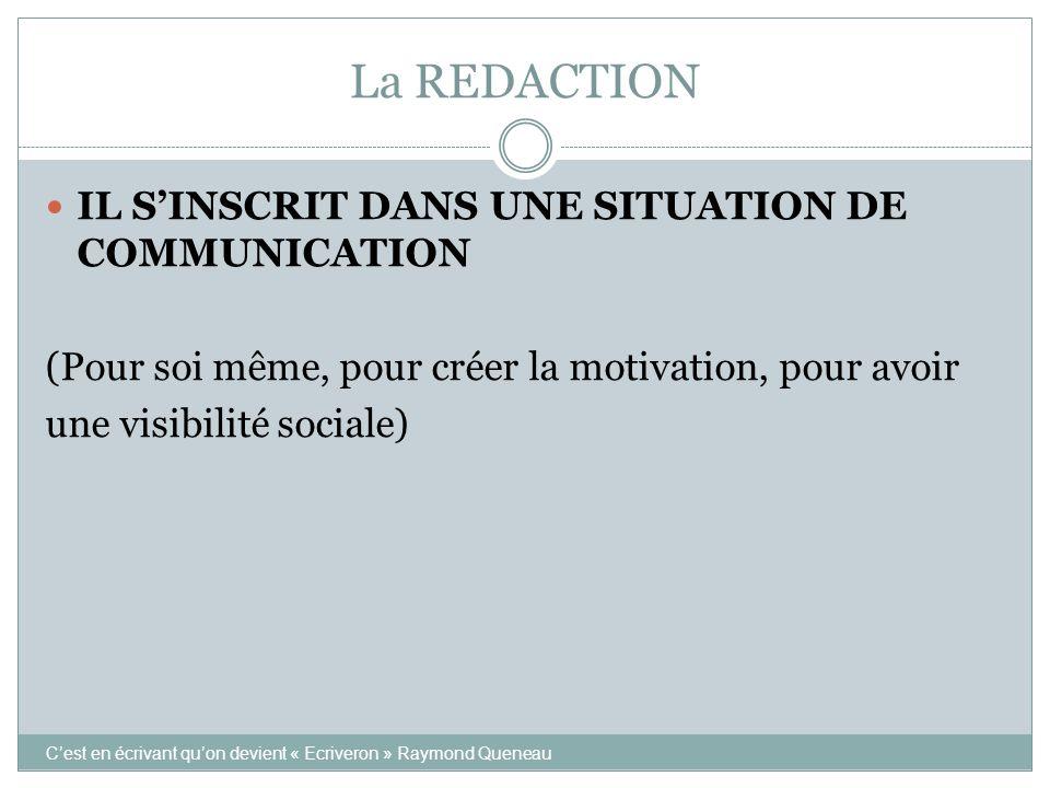 La REDACTION IL S'INSCRIT DANS UNE SITUATION DE COMMUNICATION