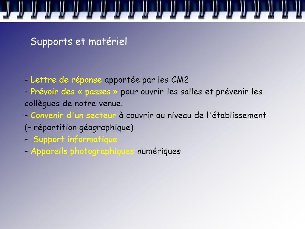 Supports et matériel - Lettre de réponse apportée par les CM2