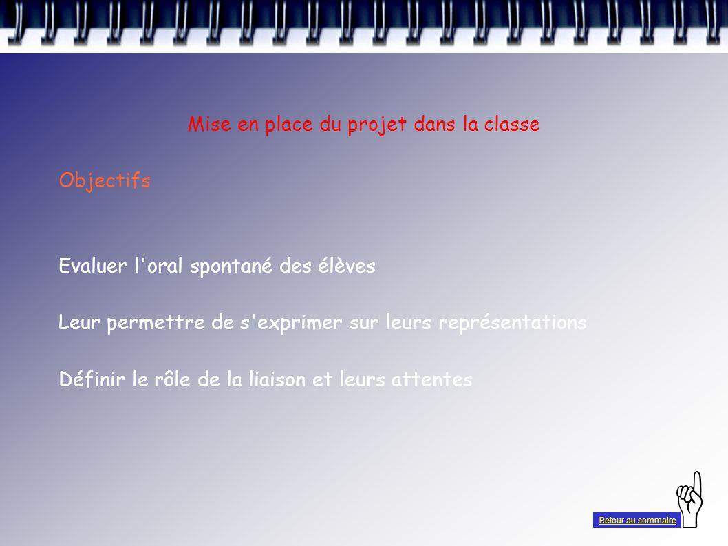 Mise en place du projet dans la classe