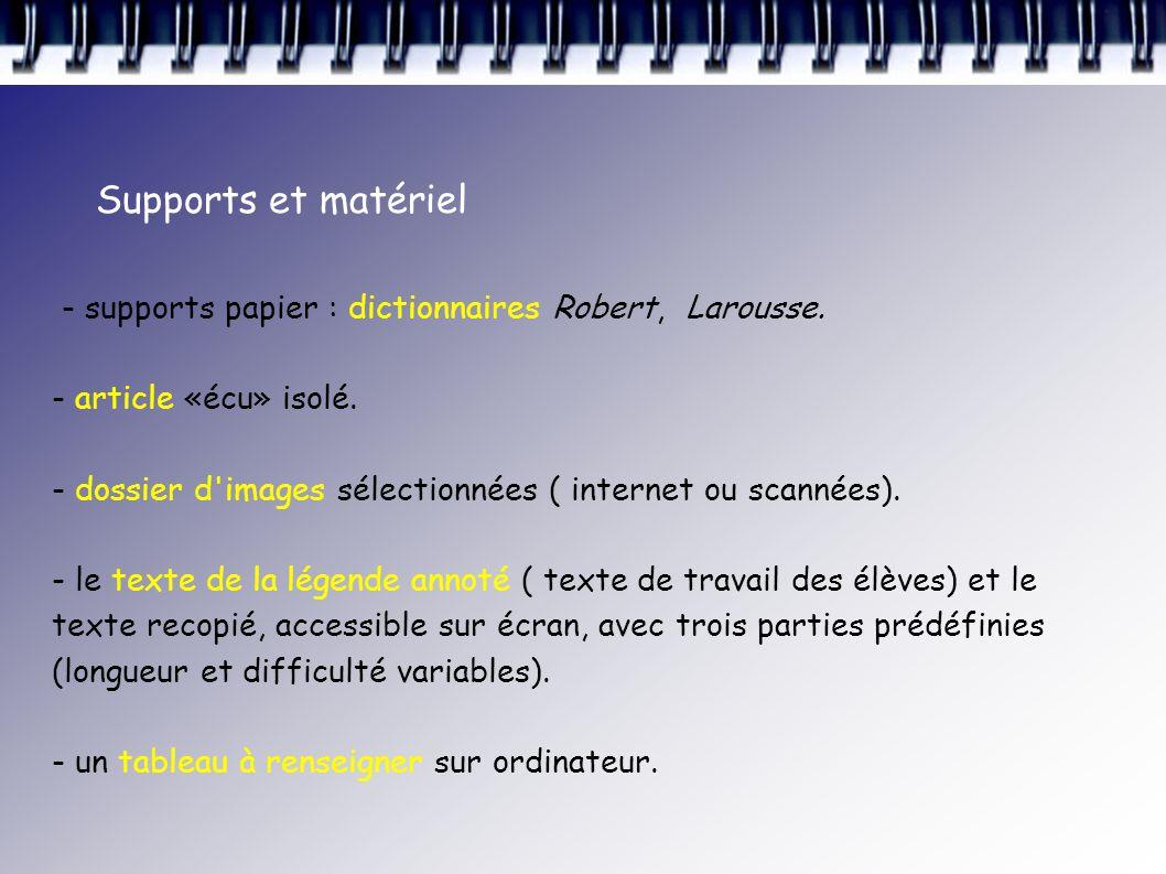Supports et matériel - supports papier : dictionnaires Robert, Larousse. - article «écu» isolé.