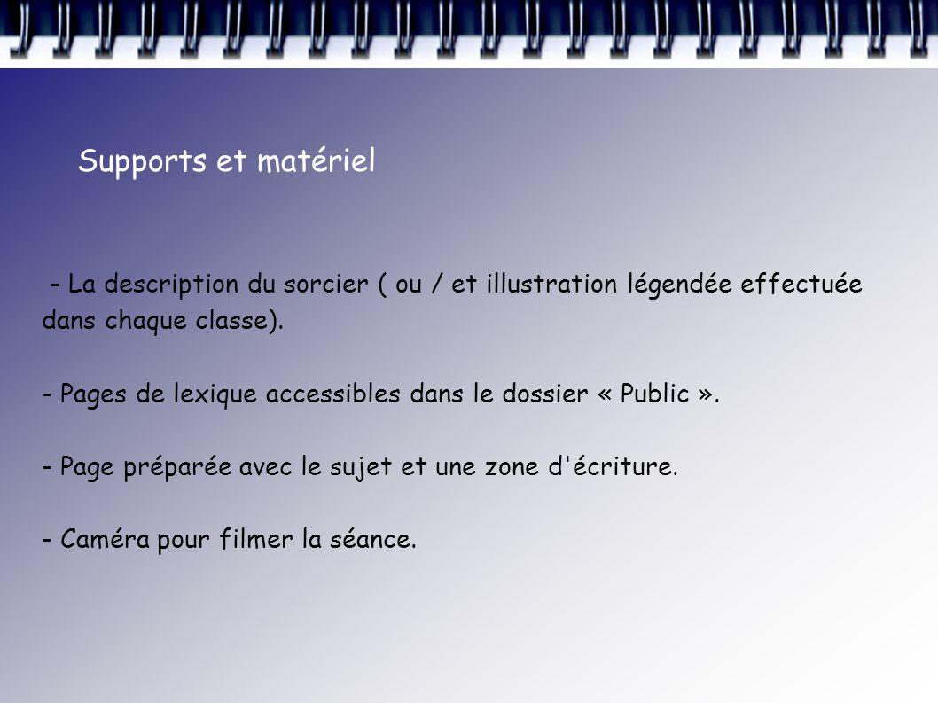 Supports et matériel - La description du sorcier ( ou / et illustration légendée effectuée dans chaque classe).