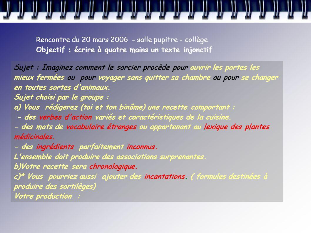 Rencontre du 20 mars 2006 - salle pupitre - collège