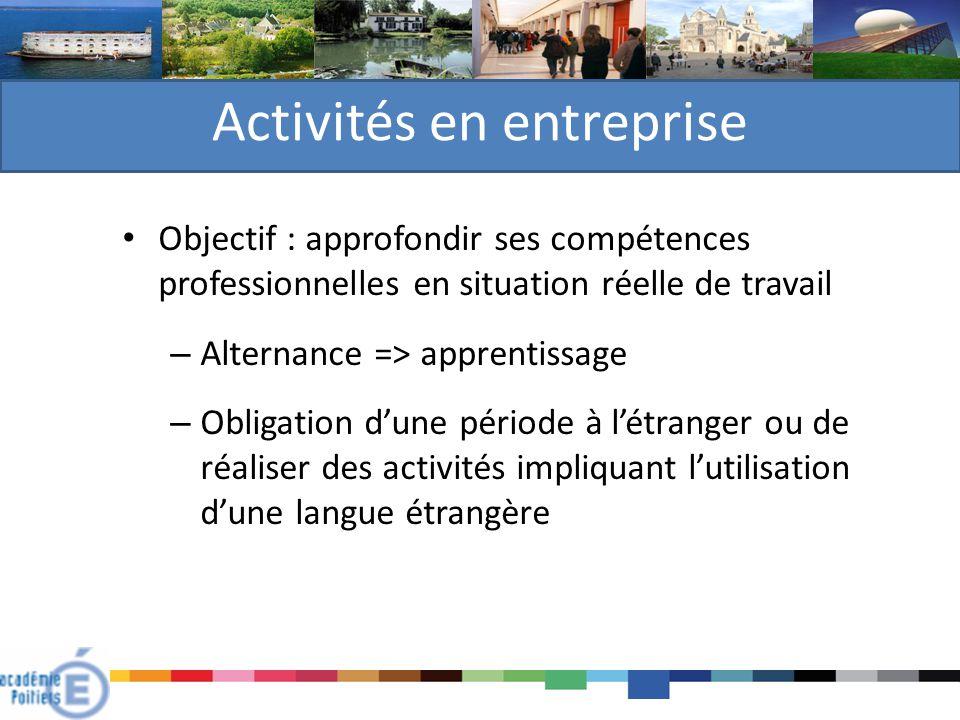 Activités en entreprise