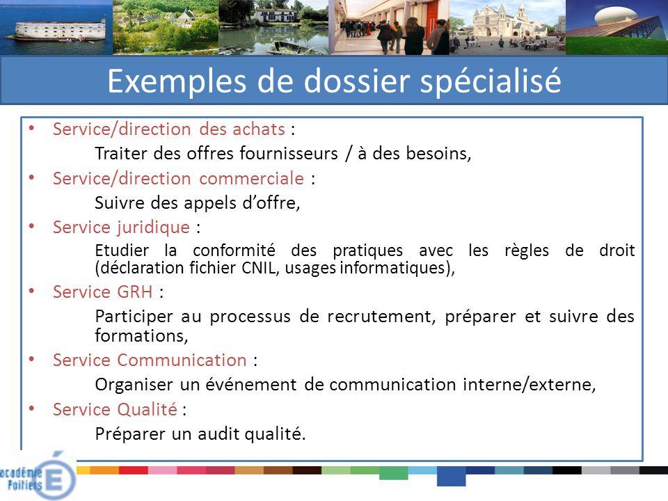 Exemples de dossier spécialisé