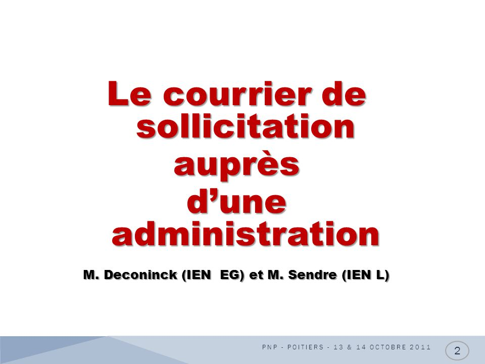 Le courrier de sollicitation