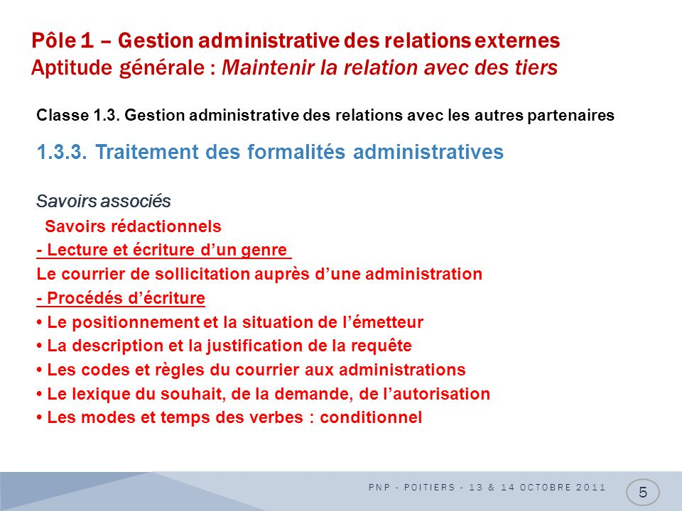 Pôle 1 – Gestion administrative des relations externes Aptitude générale : Maintenir la relation avec des tiers