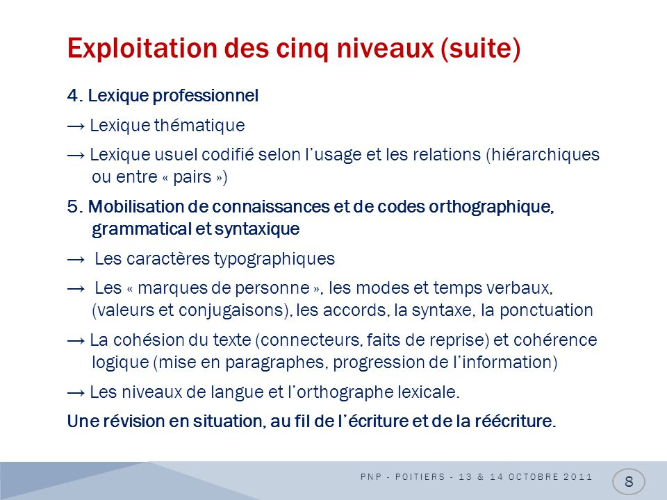 Exploitation des cinq niveaux (suite)