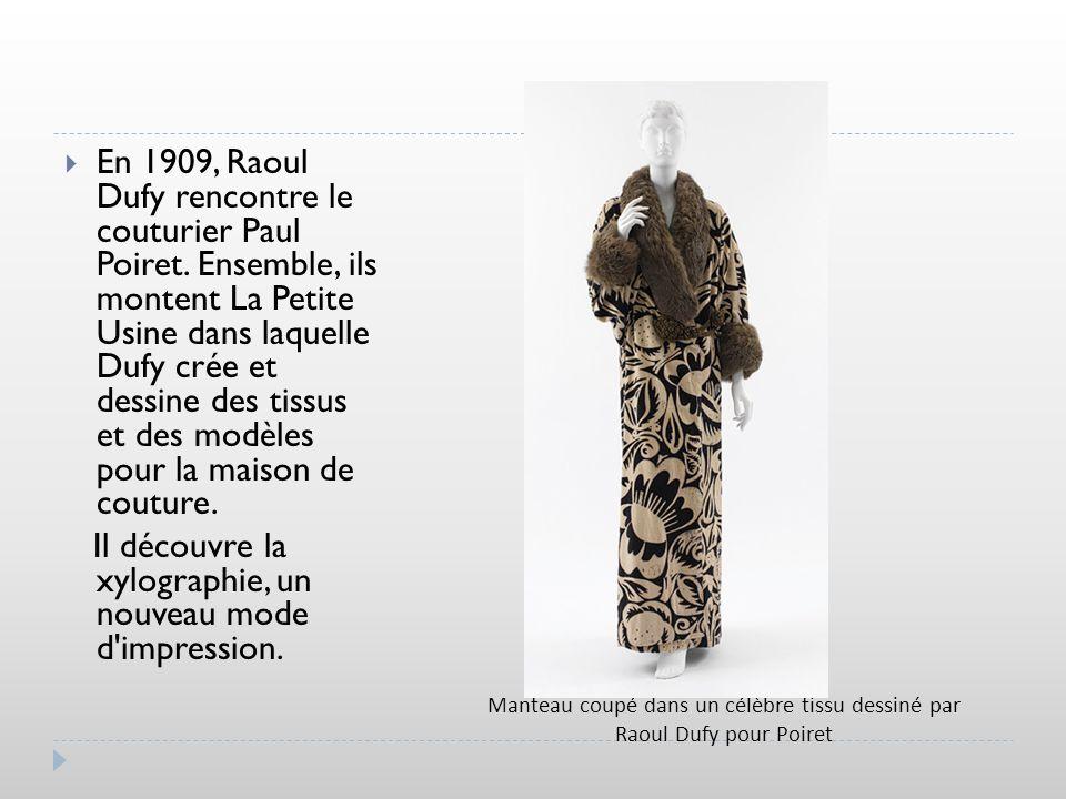 Manteau coupé dans un célèbre tissu dessiné par Raoul Dufy pour Poiret