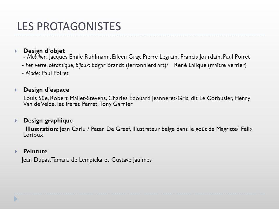 LES PROTAGONISTES Design d'objet - Mobilier: Jacques Émile Ruhlmann, Eileen Gray, Pierre Legrain, Francis Jourdain, Paul Poiret.
