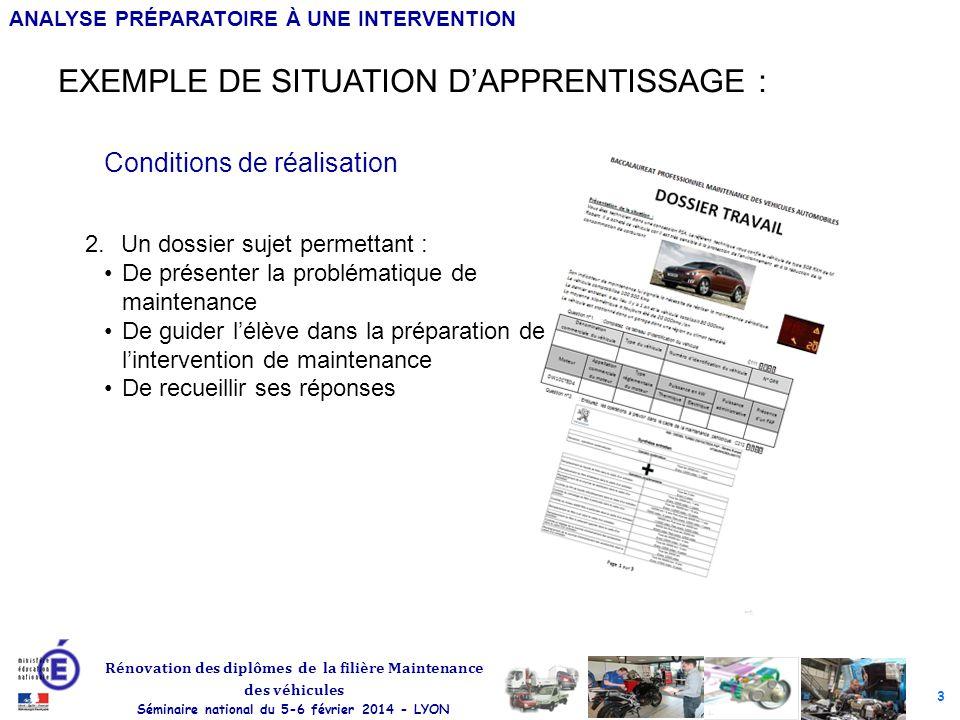 EXEMPLE DE SITUATION D'APPRENTISSAGE :