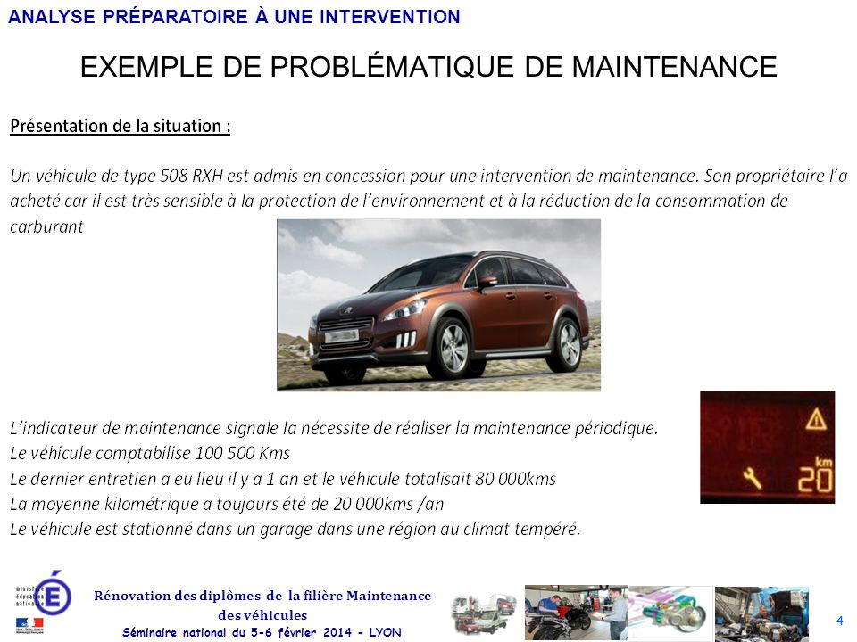 EXEMPLE DE PROBLÉMATIQUE DE MAINTENANCE